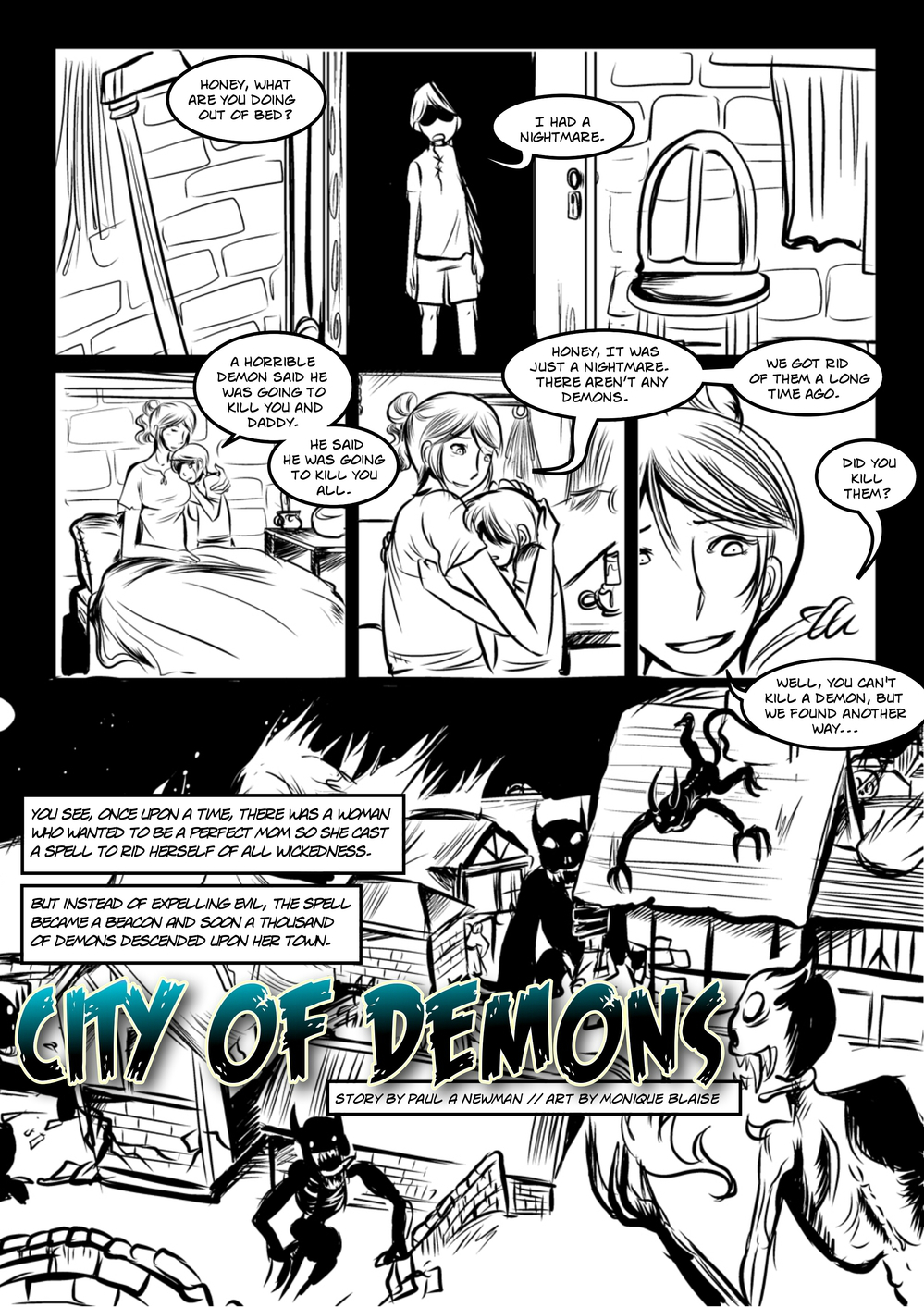 CITY OF DEMONS page 1 -- story 3 in The Book of Lies